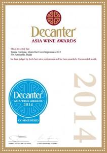 Decanter Asia Wine Award MONTE DEI COCCI 2012