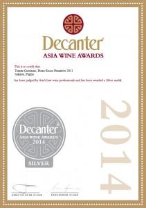 Decanter Asia Wine Award PIZZO ROSSO 2011